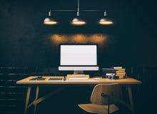 Espace de travail, écran d'ordinateur générique de conception sur Photographie stock