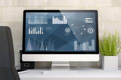 espace de travail avec des finances graphiques Photo libre de droits