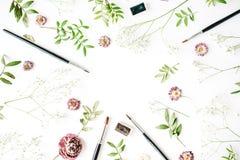 Espace de travail avec des pinceaux et des bourgeons roses Images libres de droits