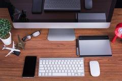 Espace de travail avec l'écran vide Photos stock