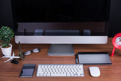 Espace de travail avec l'écran vide Photo stock