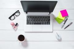 Espace de travail avec l'ordinateur portable, fleur verte dans un pot, journal intime en bon état sur le fond blanc Image libre de droits