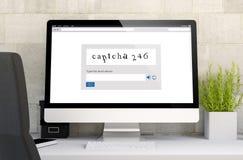 espace de travail avec le captcha Photos stock
