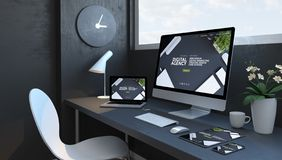 Espace de travail de bleu marine avec le site Web numérique d'agence de dispositifs sensibles illustration de vecteur