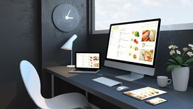 Espace de travail de bleu marine avec le site Web sensible de conception de supermarché en ligne sensible de dispositifs illustration de vecteur