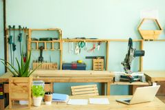 Espace de travail de charpentier Image libre de droits