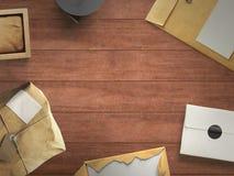 Espace de travail composé de colis postal Photo libre de droits