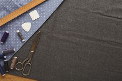 Espace de travail de couturier, vue supérieure Image stock