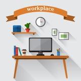 Espace de travail créatif de bureau illustration libre de droits