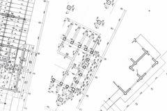 Espace de travail d'architectes avec des plans Photo libre de droits