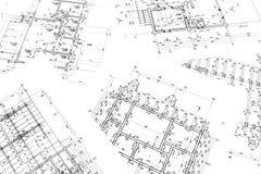 Espace de travail d'architectes avec des plans Images stock