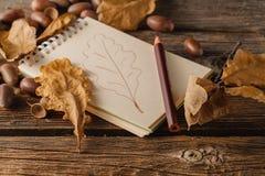 Espace de travail d'artiste d'automne Carnet à dessins et crayon Photo libre de droits