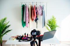Espace de travail de blogger de mode Photographie stock libre de droits
