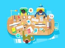Espace de travail de bureau de conférence illustration de vecteur