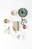 espace de travail de bureau de feminini avec le succulent, les ciseaux, le journal intime et les agrafes d'or Image libre de droits