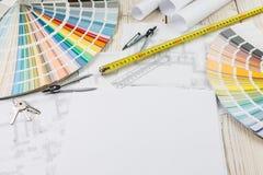 Espace de travail de concepteur de vue supérieure Images stock