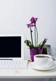 Espace de travail de femme d'affaires Photos stock