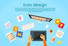 Espace de travail de Logo Icon Designer Drawing Desk Photo libre de droits