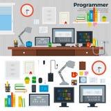 Espace de travail de programmeur avec le matériel Photos libres de droits