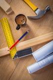 Espace de travail de Tipical de construction de charpentier Images libres de droits