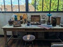 Espace de travail du ` s d'artiste en studio de Suzanne Valadon, Montmartre Image libre de droits
