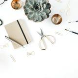 Espace de travail féminin de bureau avec le succulent, les ciseaux, le journal intime, les verres et les agrafes d'or sur le fond Images stock