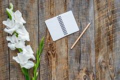 Espace de travail féminin de bureau Carnet, stylo et glaïeul sur le copyspace en bois rustique de vue supérieure de fond Photos libres de droits