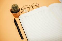 Espace de travail de fond d'affaires de vue supérieure avec des verres, stylo, cactus Image stock
