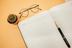 Espace de travail de fond d'affaires de vue supérieure avec des verres, stylo, cactus Image libre de droits