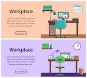 Espace de travail intérieur plat ou lieu de travail à la maison Fond de vecteur Photos libres de droits