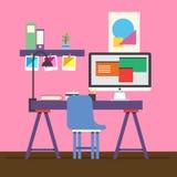 Espace de travail mignon d'illustrateur Images stock