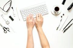 Espace de travail minimal du ` s de femmes Images stock