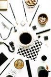Espace de travail noir de style d'indépendant Photographie stock