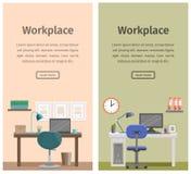 Espace de travail plat de conception ou lieu de travail à la maison Fond de vecteur Photographie stock libre de droits