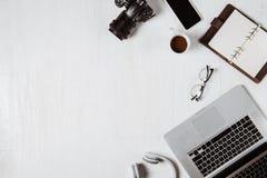 Espace de travail pour le photographe, concepteur Configuration plate de lapto Image libre de droits