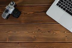 Espace de travail pour le style de photographe, de concepteur ou de hippie Photographie stock