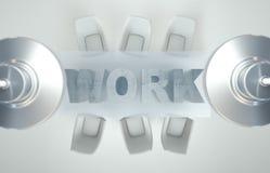 Espace de travail vide sur la table de TRAVAIL blanche Vue supérieure La haute résolution rendent Concept d'affaires Images stock