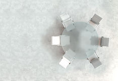 Espace de travail vide sur la table en verre de PLAN Vue supérieure La haute résolution rendent Concept d'affaires Photo libre de droits
