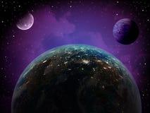 Espace extra-atmosphérique de la terre et de planète Photo libre de droits