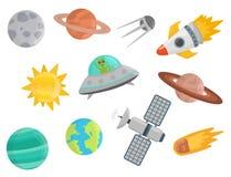 Espace a ilustração futura do vetor de canela do foguete do navio de espaço da exploração do sistema solar da nave espacial dos p Imagens de Stock Royalty Free