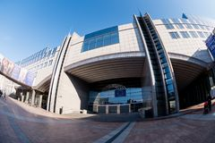 Espace Leopold and Altiero Spinelli building. Altiero Spinelli building at the Espace Léopold, the building complex of the European Parliament and an exhibition Stock Photos