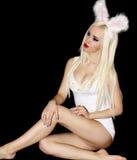 Espace libre s de maquillage de cheveux droits de fille blonde de portrait long bel Photo stock