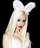 Espace libre s de maquillage de cheveux droits de fille blonde de portrait long bel Photos stock