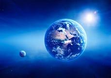 Espace lointain de lever de soleil de la terre Photographie stock libre de droits