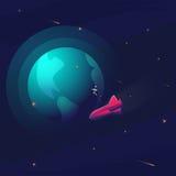 Espace o fundo realístico do vetor com astronauta, foguete, nave espacial, lua, planetas e estrelas Espaço para seu texto ilustração stock