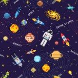 Espace o fundo sem emenda do teste padrão, o astronauta estrangeiro, o foguete do robô e a arte do pixel dos planetas do sistema  Imagens de Stock Royalty Free
