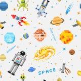 Espace o fundo sem emenda do teste padrão, o astronauta estrangeiro, o foguete do robô e a arte do pixel dos planetas do sistema  Fotografia de Stock Royalty Free