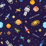 Espace o fundo sem emenda do teste padrão, o astronauta estrangeiro, o foguete do robô e a arte do pixel dos planetas do sistema  Fotografia de Stock
