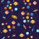 Espace o fundo sem emenda do teste padrão, o astronauta estrangeiro, o foguete do robô e a arte do pixel dos planetas do sistema  Foto de Stock Royalty Free