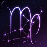 Espace o símbolo da Virgem do conceito do zodíaco e do horóscopo, da arte do vetor e da ilustração Fotografia de Stock Royalty Free